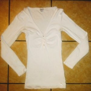 Guess White Long Sleeve Cleavage Shirt